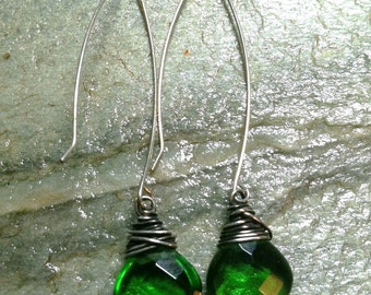 Green Quartz Glass Dangle Earrings