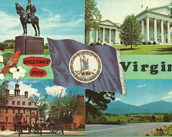 Vintage 1950s Postcard Greetings from Virginia State Flag Flower Bird Capitol Building Multiview Card Photochrome Era Postally Unused