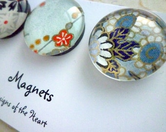 Round Glass Magnet set - Blue Japanese Paper Collection