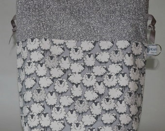 Medium drawstring knitting crochet project bag grey sheep