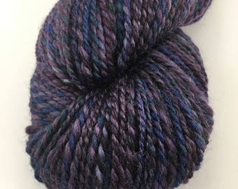 "Handspun Yarn Worsted BFL Silk 180 yds. ""Concord Grapes"""