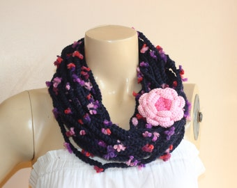Navy Infinity Scarf -Chain crochet scarf with Pink Rose Pin