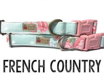 "Vintage Dog Collar - Floral Dog Collar - Girl Dog Collar - Shabby Chic Dog Collar - Antique Metal Hardware - ""French Country"""