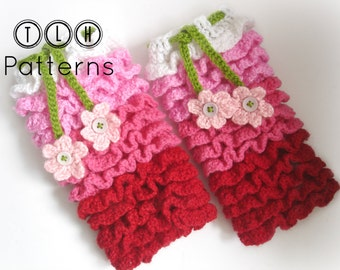 Crochet pattern, crochet leg warmer pattern, newborn legwarmers, Ruffles all over legwarmer, newborn to 2 years - 4 sizes, Pattern No. 17