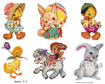 Easter 5 Digital Collage from Vintage Greeting Cards - Instant Download - Cut Outs