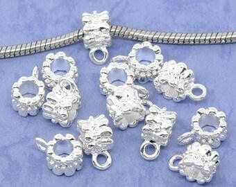 Set of 2 round Decor Double flower silver Dim.14x7mm bails