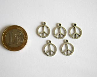 5 charms in peace, 15 x 12 mm silver plated peace sign connectors