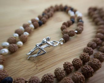 Tantra Mala - prayer bead necklace, rudraksha beads, 925 sterling silver, sweat water pearl