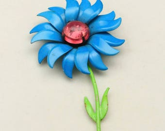 Vintage Bright Blue Enamel Flower Brooch Pin with Pink Jelly Belly Center Retro