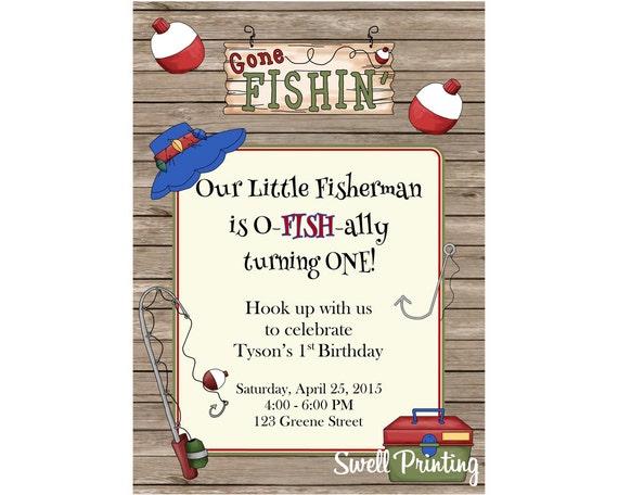 Fishing invitation gone fishing birthday party invitation for Fishing birthday party invitations