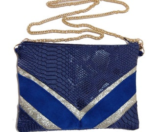 Clutch evening bag wedding purse, gold sequin Royal Navy Blue Suede, leatherette Komodo dragon - after the beach