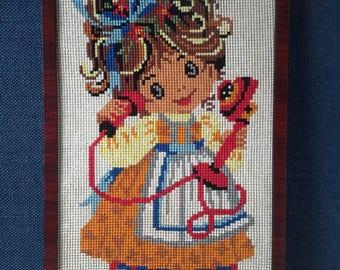 embroidery girl, retro embroidery art, big eyes, 70s girls room wall decor, kids room, kids room, baby room, retro