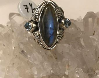 Beautiful Labradorite and Blue Topaz Ring, Size 7 1/2