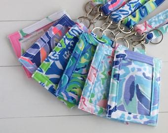 ID Badge Holder, Teacher ID Holder, Metro Card Holder, Lilly Pulitzer Fabric