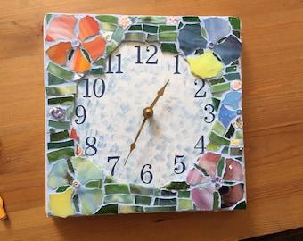 Mosaic clock handmade