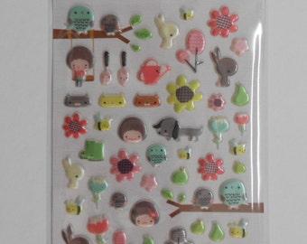 Kawaii Garden Spongy Stickers