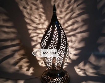 Exotic Moroccan Brass Table Lamp/ Table Lamps / Oriental Lightning / Handmade Lightning / Handmade lamps/ Bedside Lamps ; MEDIUM
