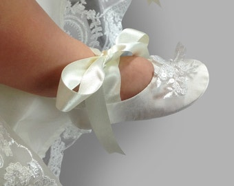 Cameo Silk  Christening Booties