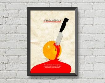 Clockwork orange,digital print,movie poster,minimal,art,blood,original,stanley kubrick poster,men cave,movie print,