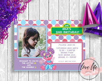 Abby Cadabby Birthday Invitation | Sesame Street Birthday Invitation | Kids Birthday Invitation | Girls Birthday Party | Abby Party