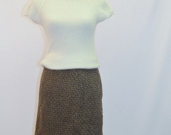 SALE 1950s A line woollen skirt with kick pleat in browns