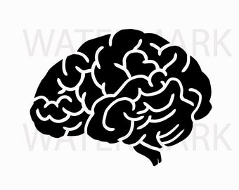 Brain Silhouette - JPG PNG SVG - Hand Drawing Image - Digital files Instant Download