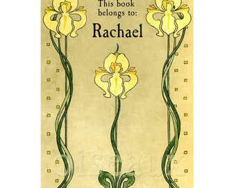 Vintage Iris Personalized Bookplates - Custom Book Plates, Perfect Mother's Day, Birthday, Ex Libris, Book Labels