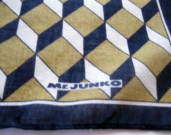 Handkerchief  Mr. Junko Classic, Men's Accessory Pocket Square Scarf, Mr. Junko, Bandanna,  Geometric, Cotton, by mailordervintage on etsy