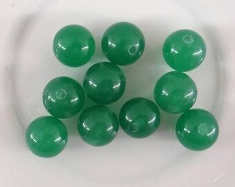 10 round 10 mm clear vtp019 green aventurine beads