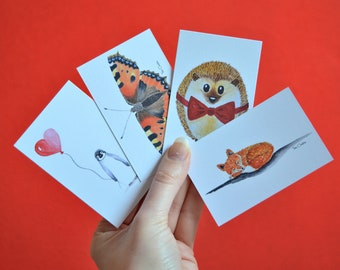 Gifttags set with watercolour print. Penguin, hedgehog, fox and butterfly.