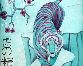 Tiger painting in watercolor poster in shades of teal and red Japanese Asian Cherry blossom