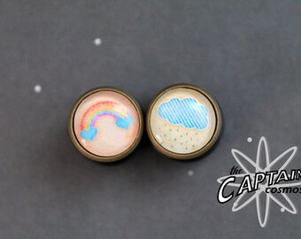 "Cute rainbow raincloud cloud plugs 11mm 7/16"" gauges bodmod blue"