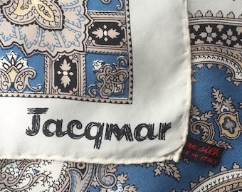 Vintage Jacqmar Blue and Stone Paisley/Ethnic Design Italian Silk Scarf
