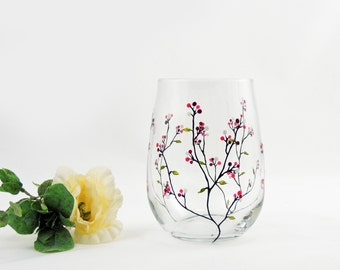Hand painted stemless wine glass - Louisa Collection with purple, pink and white berries