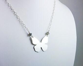 Sterling Silver Butterfly Necklace - Butterfly Pendant - Butterfly Jewelry - Handmade Jewelry