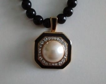 "Onyx Necklace with detachable Pendant,  Onyx ""TAT""  Necklace, Faux Pearl and Diamond Pendant by ""TAT"""