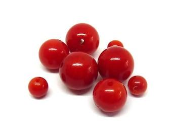 Red coral bead Ø 6 mm PF0100 has individually gem stone semi precious