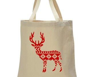 Reindeer tote bag- Christmas bag- Christmas Tote- Holiday tote- holiday gift- cute tote bag- adorable christmas bag