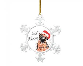 Pug tree decoration, bah humpug, Personalised Christmas decoration, pug christmas, babies 1st christmas decoration, tree decoration