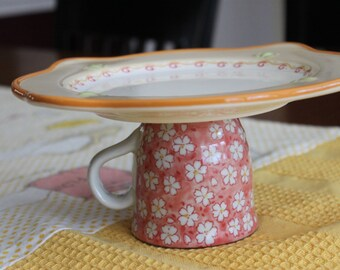 Re-purposed Whimsical Teacup Cake Stand Serving Platter Candle Holder