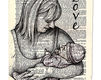 Print: Love Dictionary Page, Print of Hand Drawn Illustration on Torn Dictionary Page
