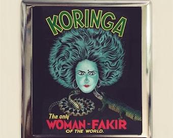 Snake Charmer Cigarette Case Business Card ID Holder Wallet Vintage Sideshow Poster Fakir Charming