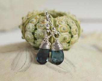 London Blue Topaz Earrings  Birthstone November Sterling Silver Jewelry