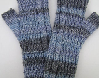 Hand Knit Fingerless Gloves in Blue/Grey. Striped Mittens. Texting Gloves. Comfy Hand Warmers.