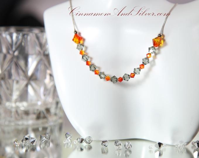 Grey and Orange Swarovski Crystal Collar Necklace, Firey Orange and Smoke Grey Crystal Necklace, Sterling Silver and Crystal Collar Necklace