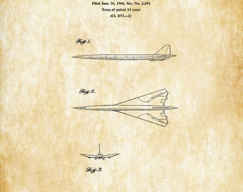 Boeing SST Plane Patent - Airplane Blueprint, Pilot Gift, Airplane Poster, Vintage Aviation, Airplane Art, Boeing Patent, Boeing Supersonic