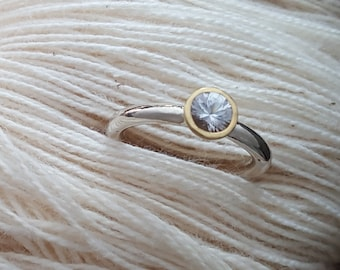 AAA White Sapphire in 22K Gold Setting with Sterling Silver round band