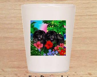Chow Chow Black Dogs Tropical Beach Art Pet Ceramic Shot Glass