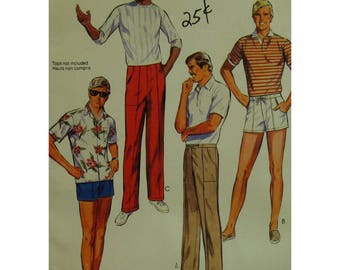 "Mens Shorts and Pants Pattern, Flat Front, Drawstring Waist, Front, Back Pockets, McCalls No. 9137 UNCUT Size 36"" (92cm) Waist"