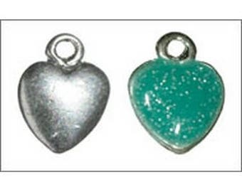 Turquoise green enameled heart charm